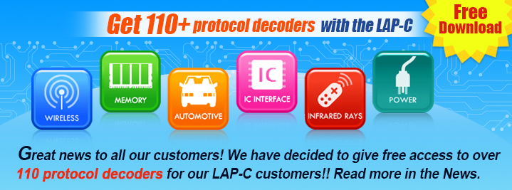 Get 110+ protocol decoders with the LAP-C